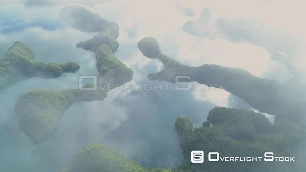 Misty Clouds View of Ngermid or Nikko Bay Palau Drone Video