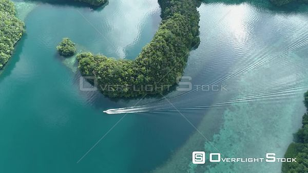 Boat in Ngermid or Nikko Bay Palau Drone Video