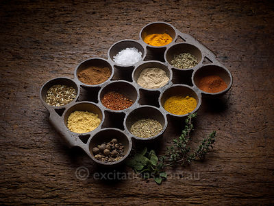 Herbs and spices, studio.