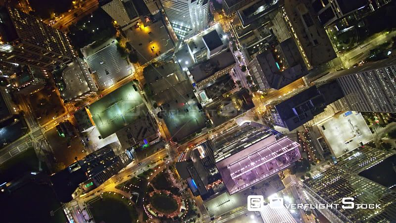 North Carolina Charlotte Aerial Vertical cityscape crossing downtown at night