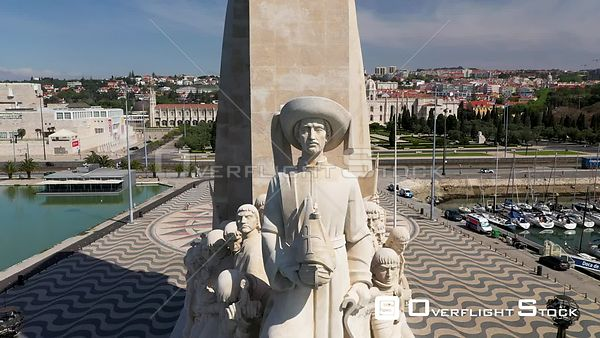 Aerial reverse of Monument to the Discoveries, in Belém, Lisbon, empty streets During Covid-19 Pandemic Portugal