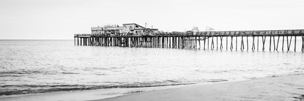 Capitola Wharf Pier Black and White Panoramic Photo