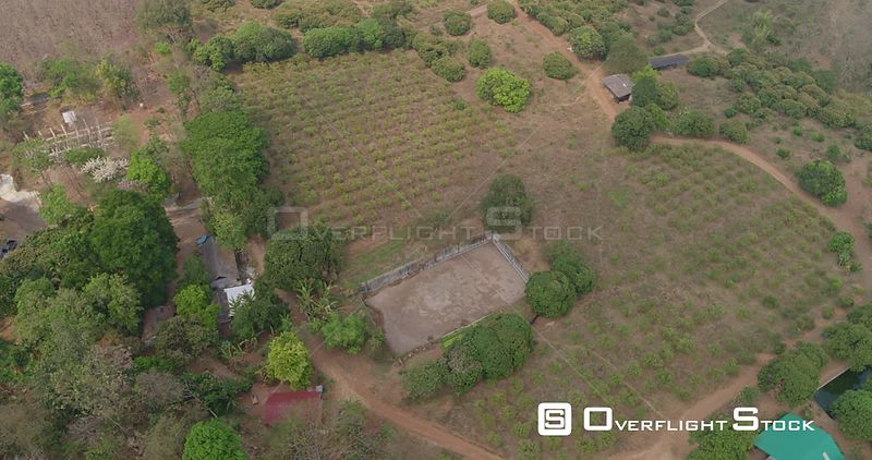 Thung Pi Thailand Aerial Near vertical to panning birdseye to looking out over site