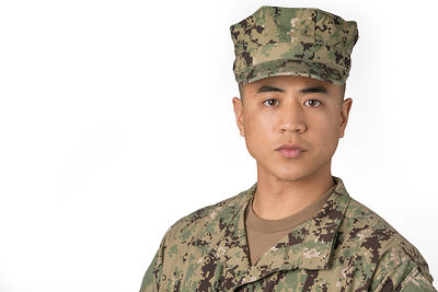 Model-released solo military man studio portrait