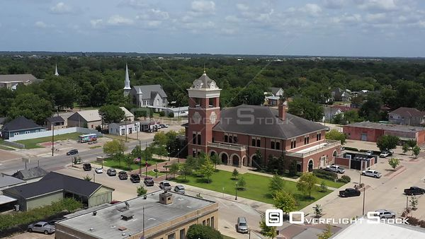 Church steeples and a clock tower, Navasota, Texas, USA
