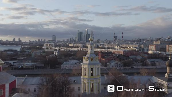 Sideway Flight With Orthodox Churches in Foreground and Moscow City Skyscrapers. Moscow Russia Drone Video View