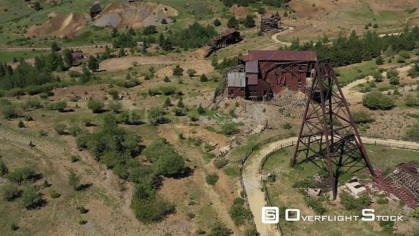 Gold Mine abandoned structures and mast head, Victor, Colorado, USA
