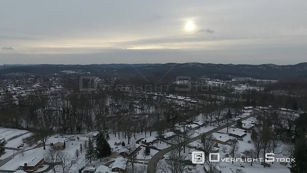 Winter Snow Covering Suburban Homes in Louisville Kentucky Drone Aerial View