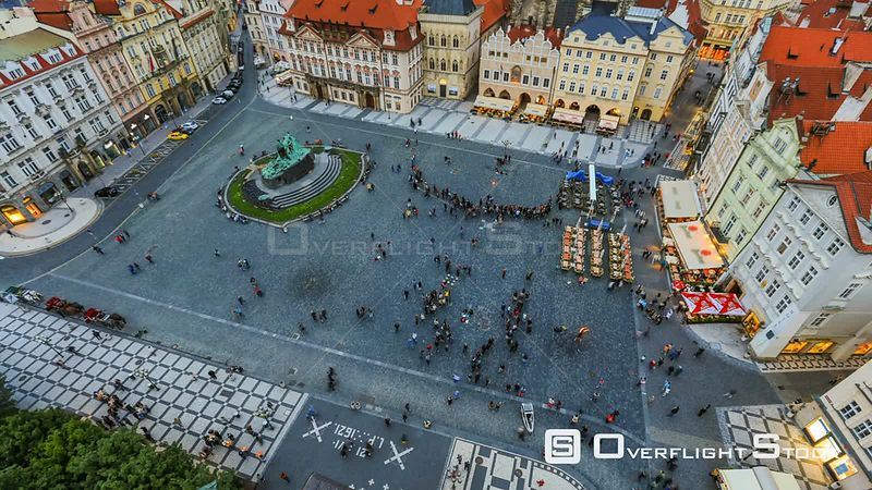 City and pedestrians time lapse of Old Town Square in Prague. Czech Republic