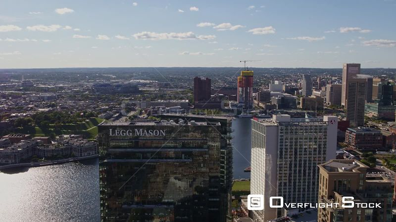 Baltimore Maryland Aerial Fast panoramic cityscape view from vantage of tall buildings with cultural hub