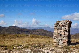 Old stone marker (probably colonial next to road to Charazani near Huallpacayo, La Paz Department, Bolivia