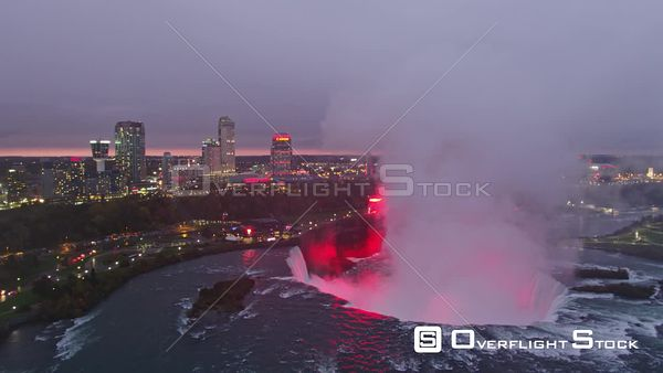 Niagara Falls Ontario Panning away from Horseshoe Falls in reverse at sunset