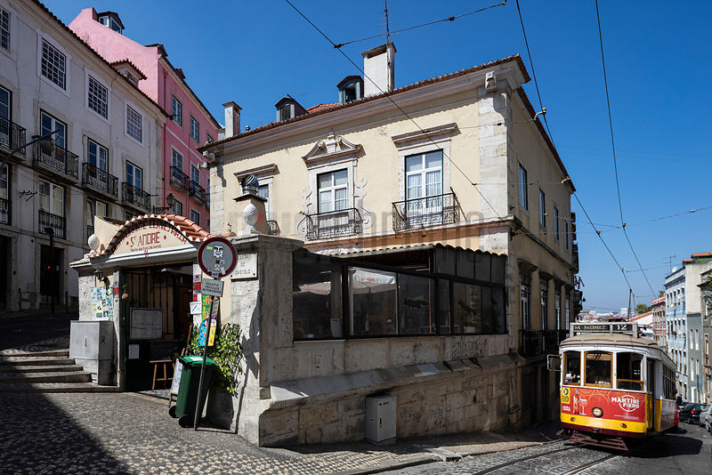 Tram in the Historic Center of Lisbon