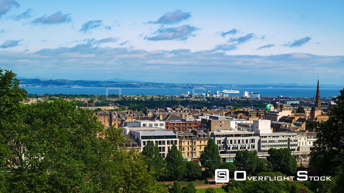 Timelapse View of the Skyline of Edinburgh New Town and the Firth of Forth in Scotland