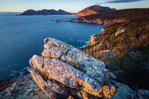 View of Sleepy Bay from Cape Tourville Looking South towards the Hazards and the Freycinet Peninsula