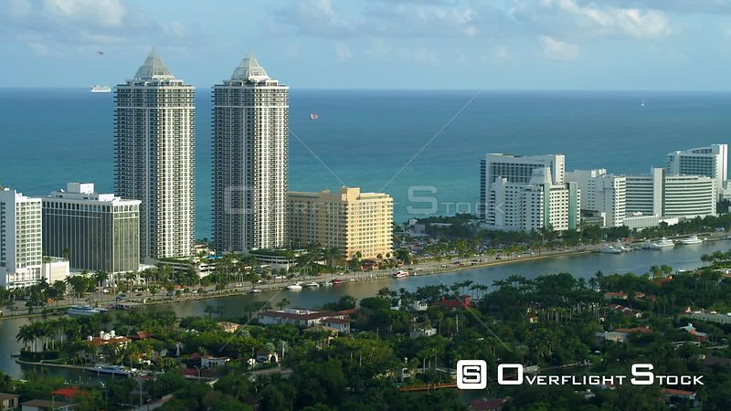 Aerial video twin towers Blue and Green Diamond Miami Beach FL