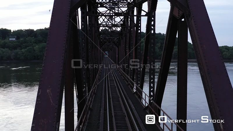 Antique Railroad Bridge on the Mississippi River, Dubuque, Iowa, USA