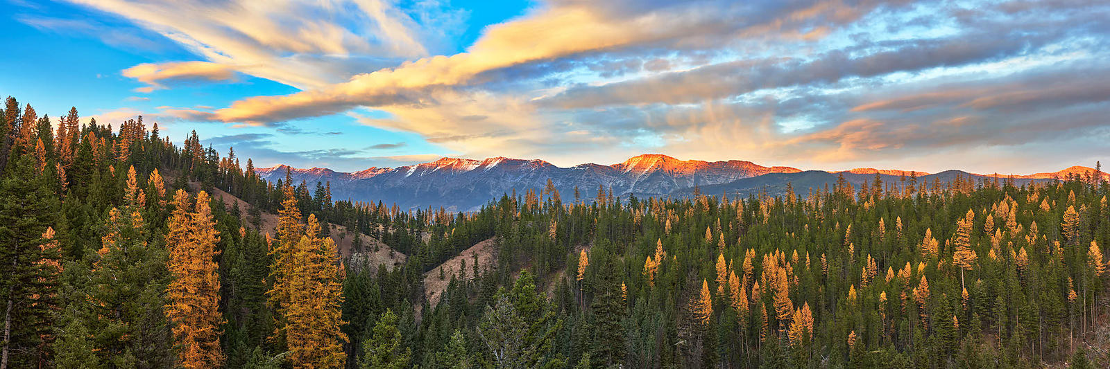 Seeley Range Fall Sunset - Panorama