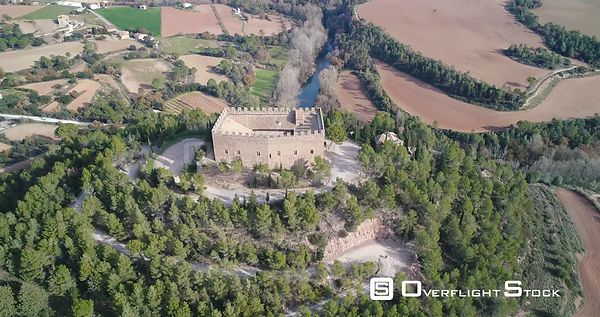 Drone Aerial Balsareny castle, gothic style fortress dated in 931 and located above a hill in the city of Balsareny, Cataloni...