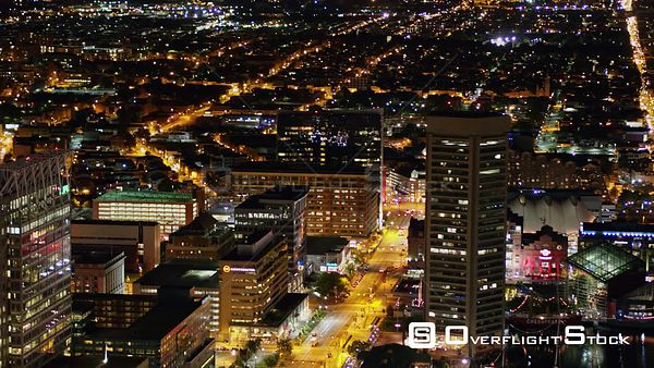 Baltimore Maryland Aerial Panning birdseye harbor view at night
