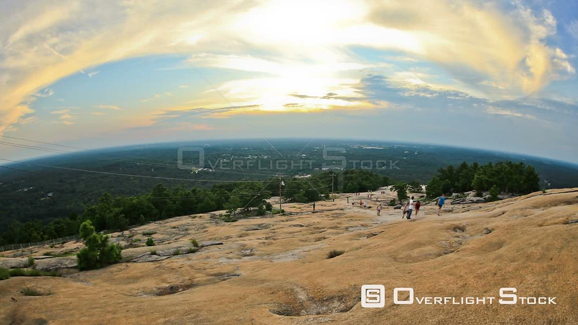 Georgia State USA Time lapse of sunset on summit of Stone Mountain.
