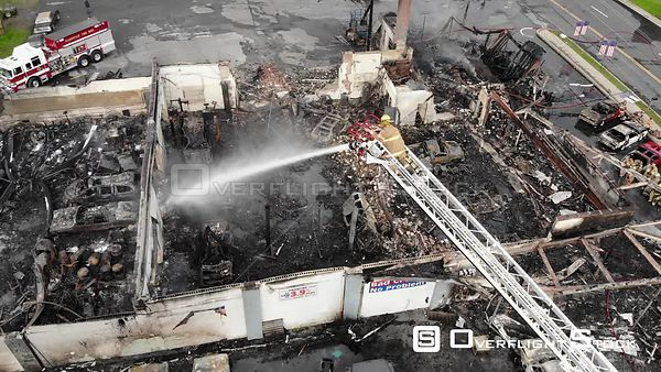 Aftermath of a Large Commercial Mall Fire Ellenville New York Drone View