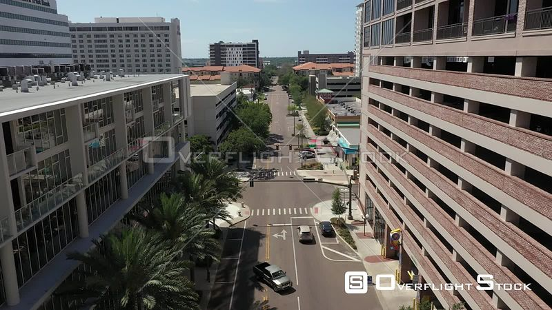 Aerial Footage St. Petersburg Florida Covid 19 Empty Street Fords Garage