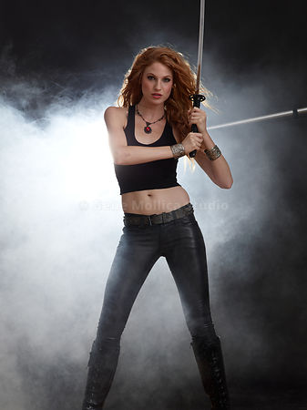 Red Head with Samurai Sword