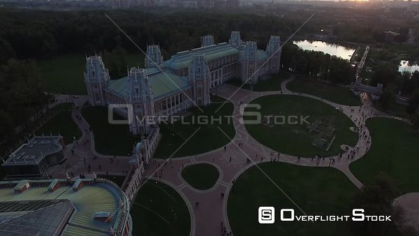 Sunset Pass Over Flight Over Tsaritsino Historic Estate. Moscow Russia Drone Video View