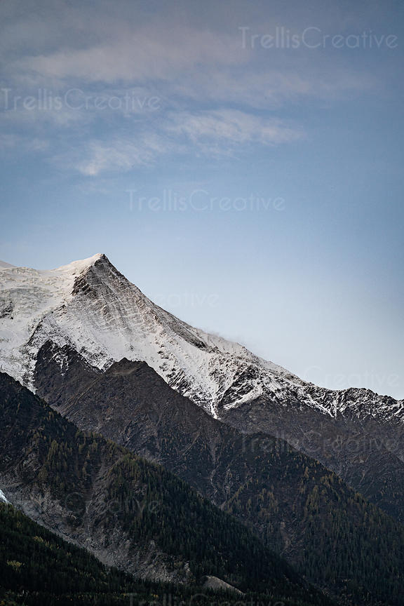 The peak of the Aiguille Du Midi mountain in the French Alps