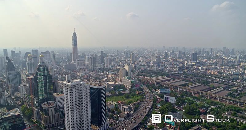 Thailand Bangkok Aerial Panning cityscape view with traffic detail