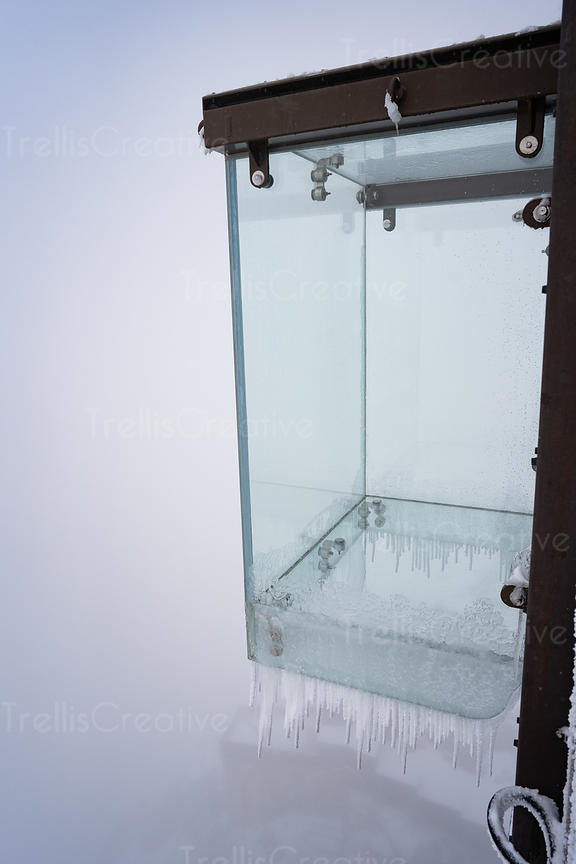 The frozen skywalk tourist attraction at the summit of the Aiguille Du Midi mountain