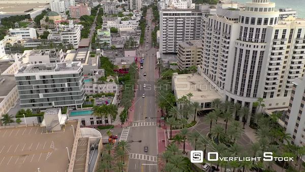 Aerial drone footage of the Iberostar Berkeley Shore Hotel Miami Beach FL