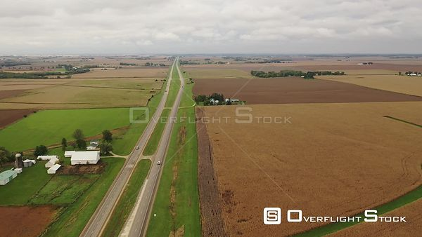 Highway 13 heading north with farms and corn fields