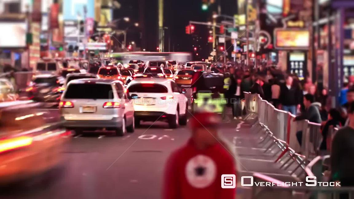 NYC New York USA Busy city traffic time lapse of Times Square area.