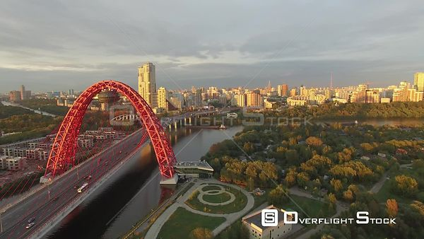 Sunset Fly by Picturesque Zhivopisnyi Bridge With Wide Angle. Moscow Russia Drone Video View
