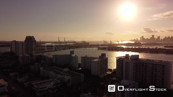 Aerial Video Miami Sunset in the Bay