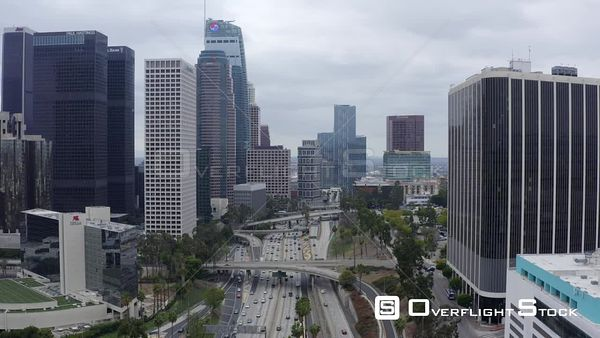 Freeway Through Downtown DTLA Cityscape Los Angeles California Drone Aerial View