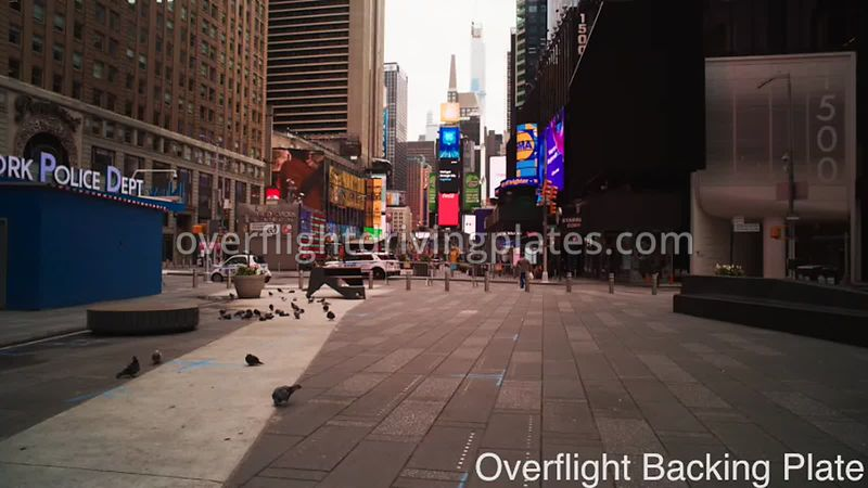 Deserted Streets During Covid-19 Pandemic Times Square Manhattan NYC New York USA - BackingPlate Apr 26, 2020