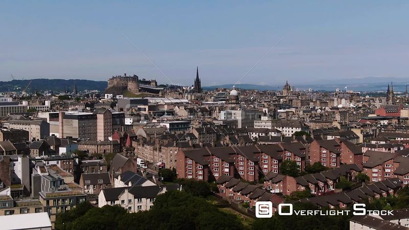 Aerial view of Edinburgh castle and the medieval old town