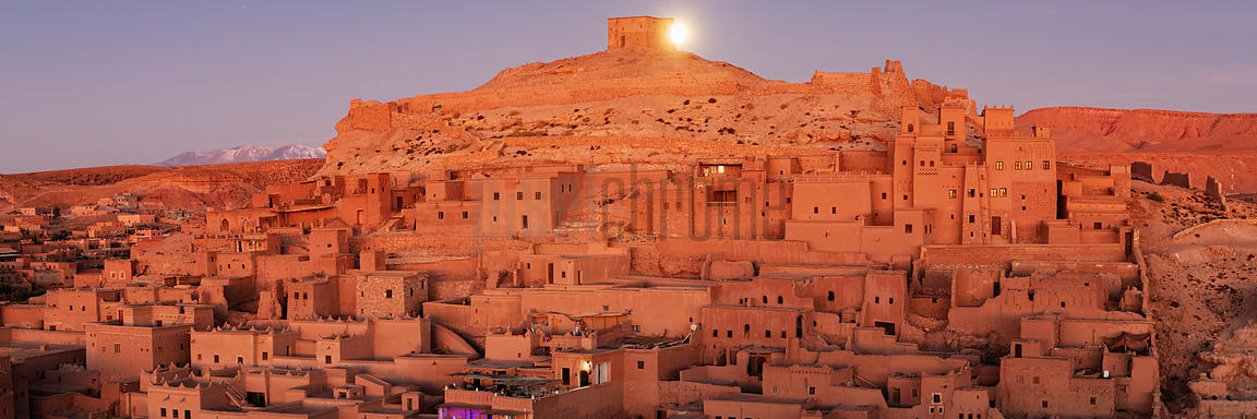 Moon Setting behind the Ksar of Ait Benhaddou before Sunrise