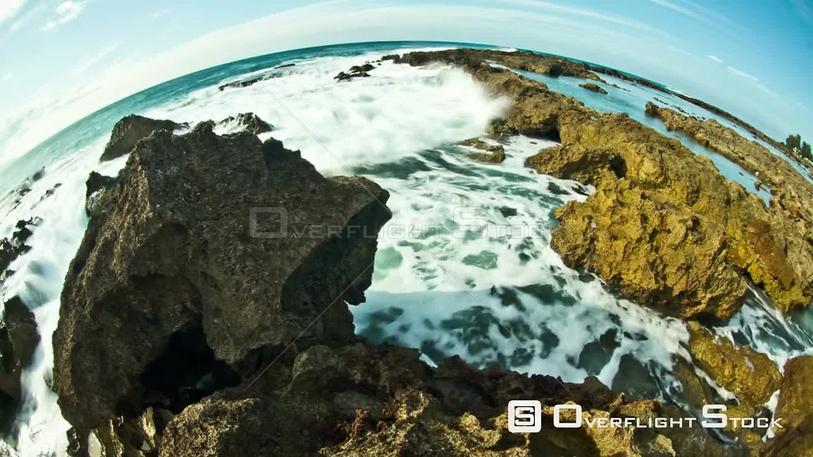 Unique beach time lapse clip of rocky coastline  Hawaii