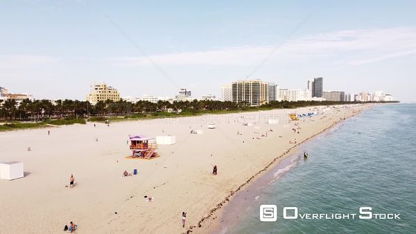 Aerial Video Social Distancing on Miami Beach Florida