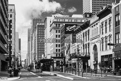 Black & White photograph of Main Street  in downtown Houston