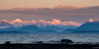 Coast Mountains at sunset as seen from the Campbell River area.