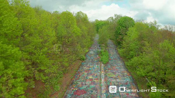 Grafitti Road. Centralia is a Near Ghost Town in Columbia County, Pennsylvania, United States