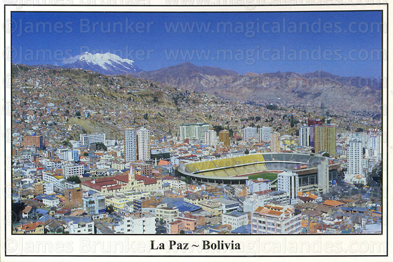 #43 La Paz,  Hernando Siles Olympic Stadium and Mt Illimani (6439m)