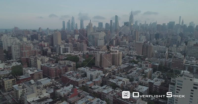 Aerial View of East Village NYC Facing Uptown NYC Skyline New York City