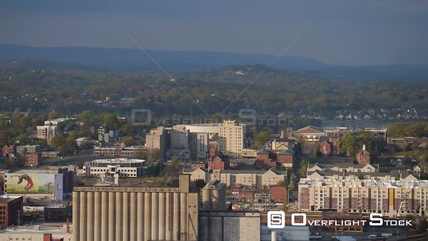 Chattanooga Tennessee over downtown panning with cityscape views.