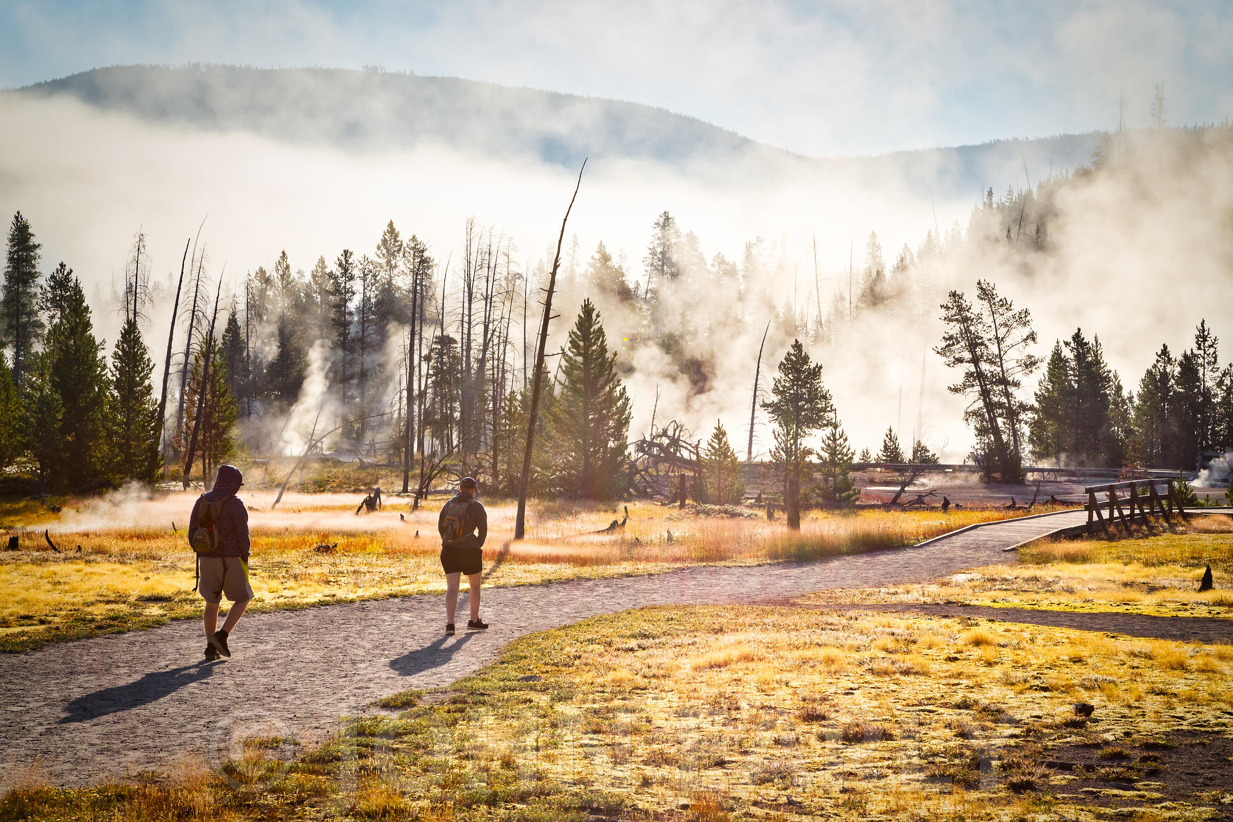 Early Morning Hikers and Steam